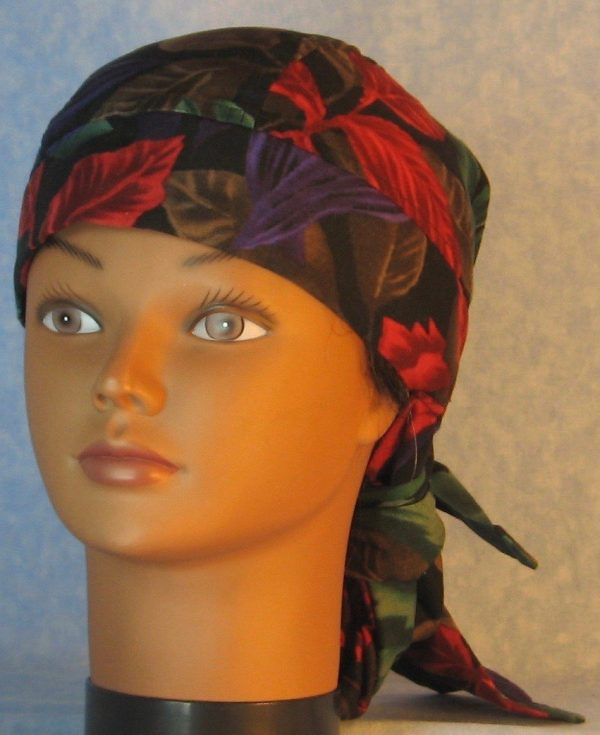 Hair Bag-Red Emerald Purple Brown Leaves-front