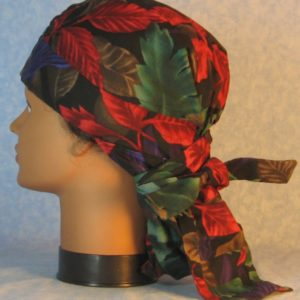Hair Bag-Red Emerald Purple Brown Leaves-left