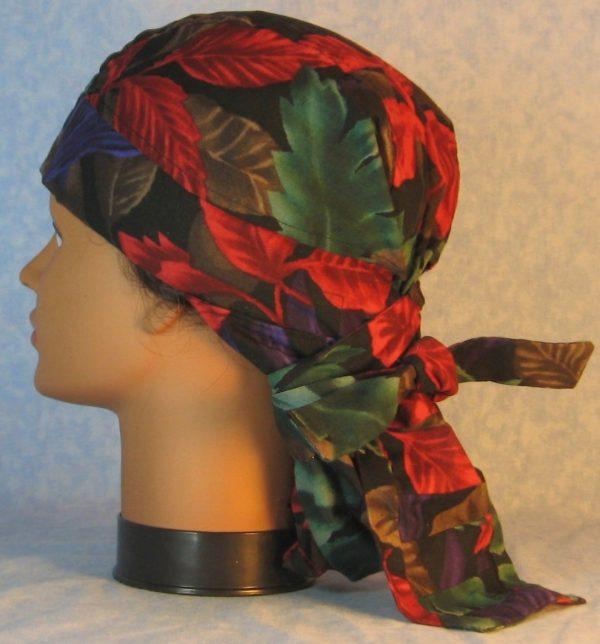 Hair Bag-Red Emerald Purple Brown Leaves-left