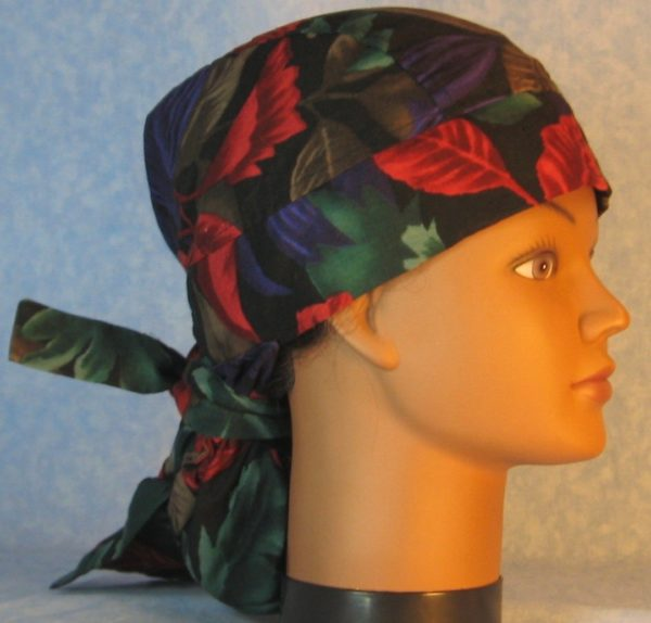 Hair Bag-Red Emerald Purple Brown Leaves-right