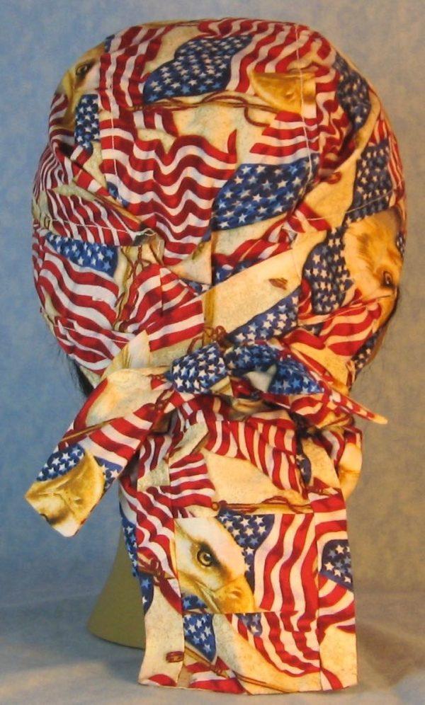 Hair Bag-Red White Blue Flag Eagle Head-back