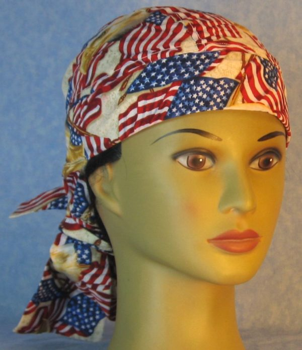 Hair Bag-Red White Blue Flag Eagle Head-front