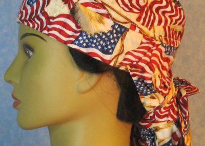 Hair Bag-Red White Blue Flag Eagle Head-left