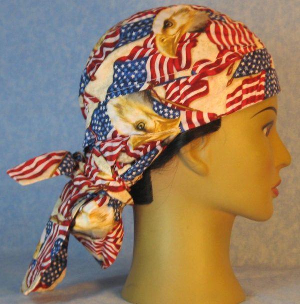 Hair Bag-Red White Blue Flag Eagle Head-right