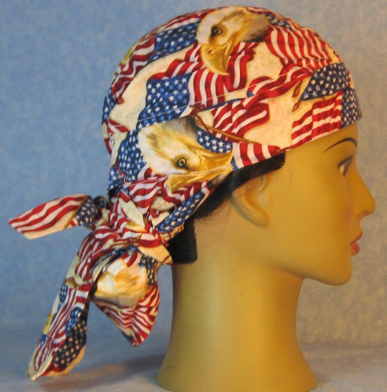 Hair Bag Do Rag in Red White Blue Flag Eagle Head - Adult M-XL