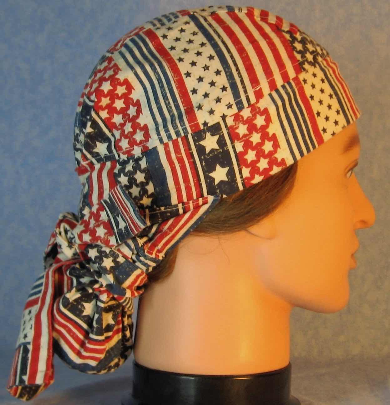 Hair Bag Do Rag in Red White Stripes White Star Blue Stripe - Adult 1XL-3XL