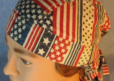 Hair Bag-Red White Stripes White Star Blue Stripe-top
