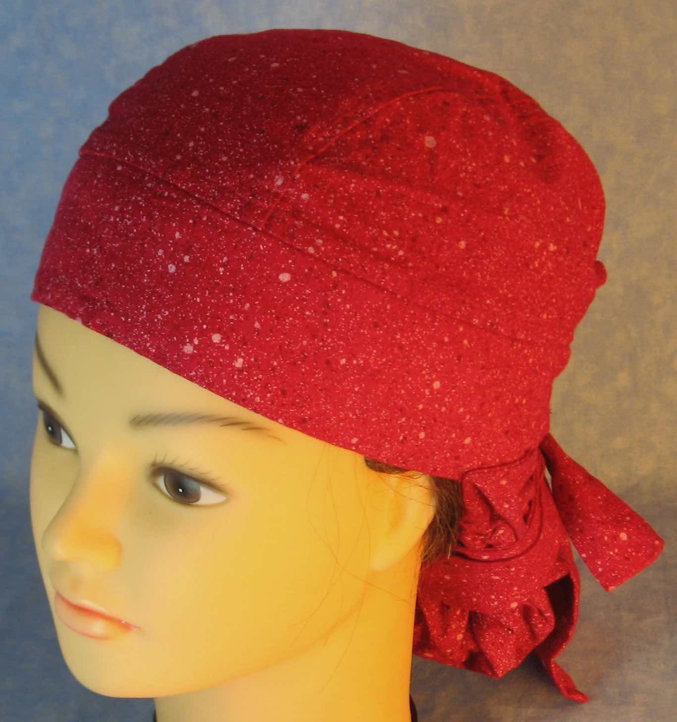 Hair Bag Do Rag in Rose Magenta with White Brown Dots - Youth L-XL-Adult S