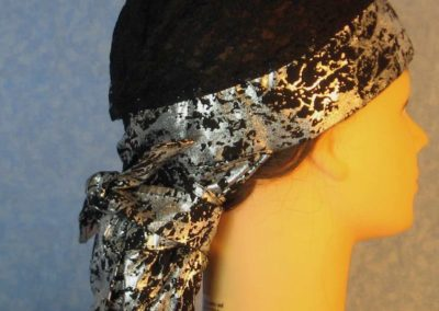 Hair Stocking-Black Silver Crinkle with Black Lace Crown-right