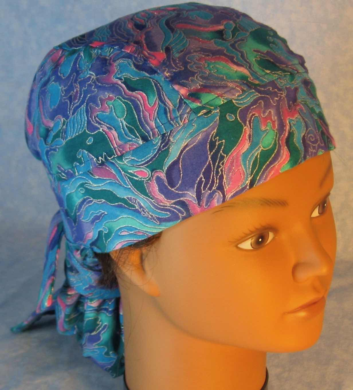 Hair Stocking Do Rag in Blue Green Purple Pink Flame Silver Swirls - Youth L-XL-Adult S