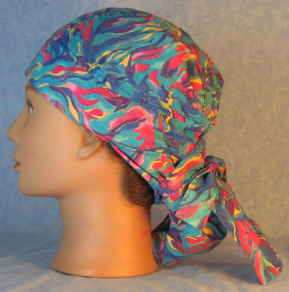 Hair Stocking Do Rag in Blue Turquoise Pink Yellow Flame Gold Wave - Adult M-XL