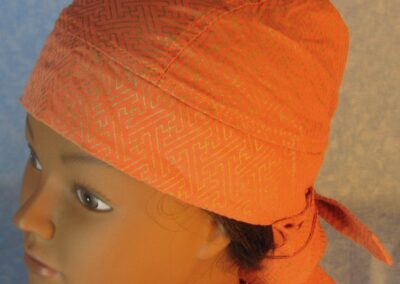 Hair Stocking-Orange Peach Gold Geometric Bar Design-top