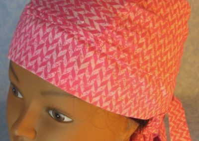 Hair Stocking-Pink White Staggered Chevron-top