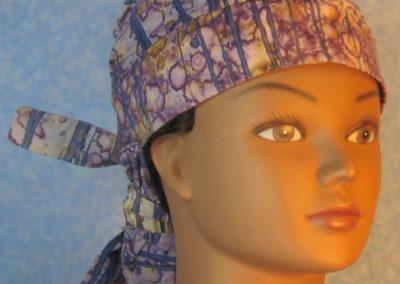 Hair Stocking-Purple Tan Blue Stripe Dyed-front
