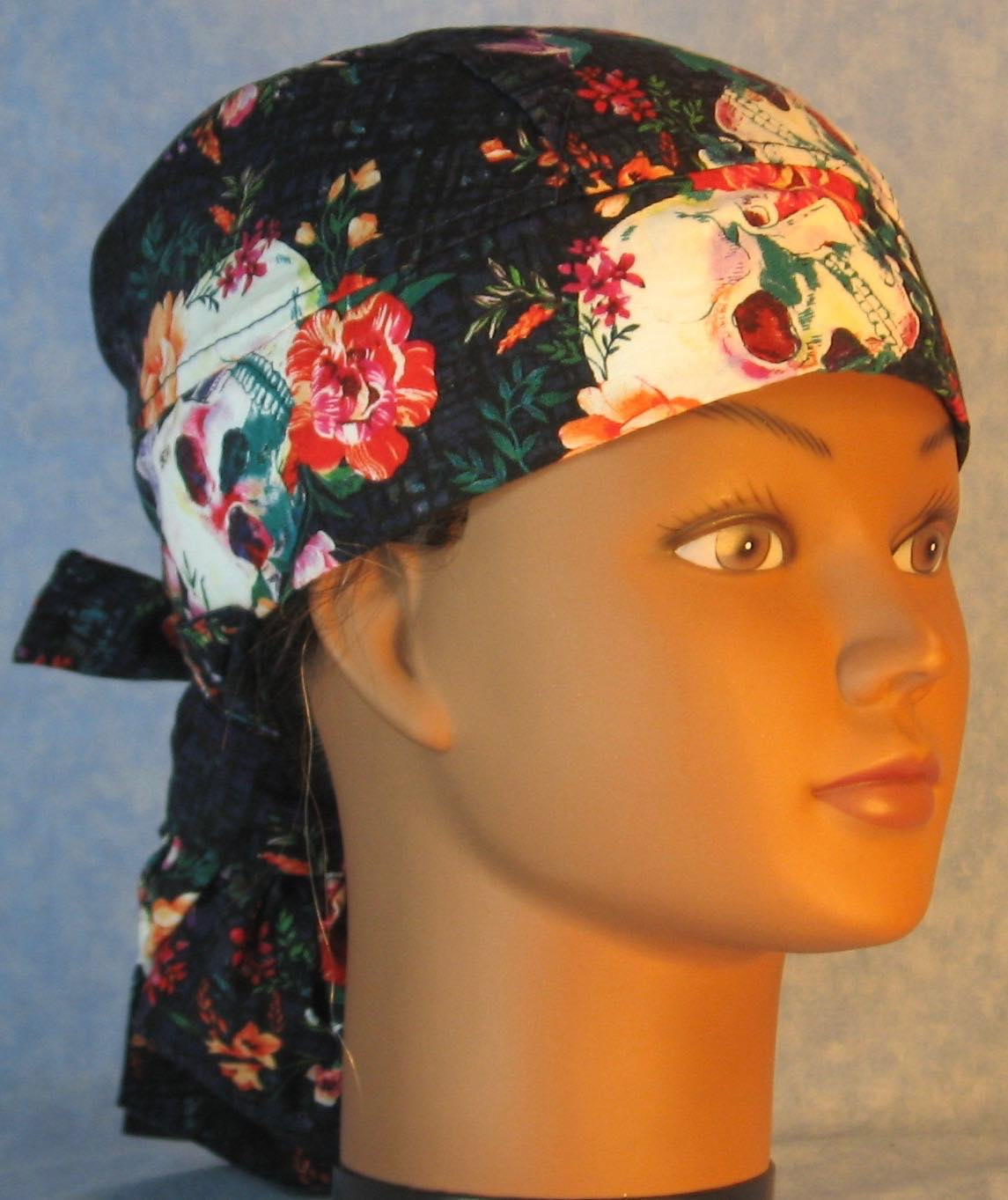 Hair Stocking Do Rag in Skull Flowers on Navy - Youth L-XL-Adult S