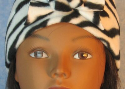 Beanie-Black White Zebra with Flower-front
