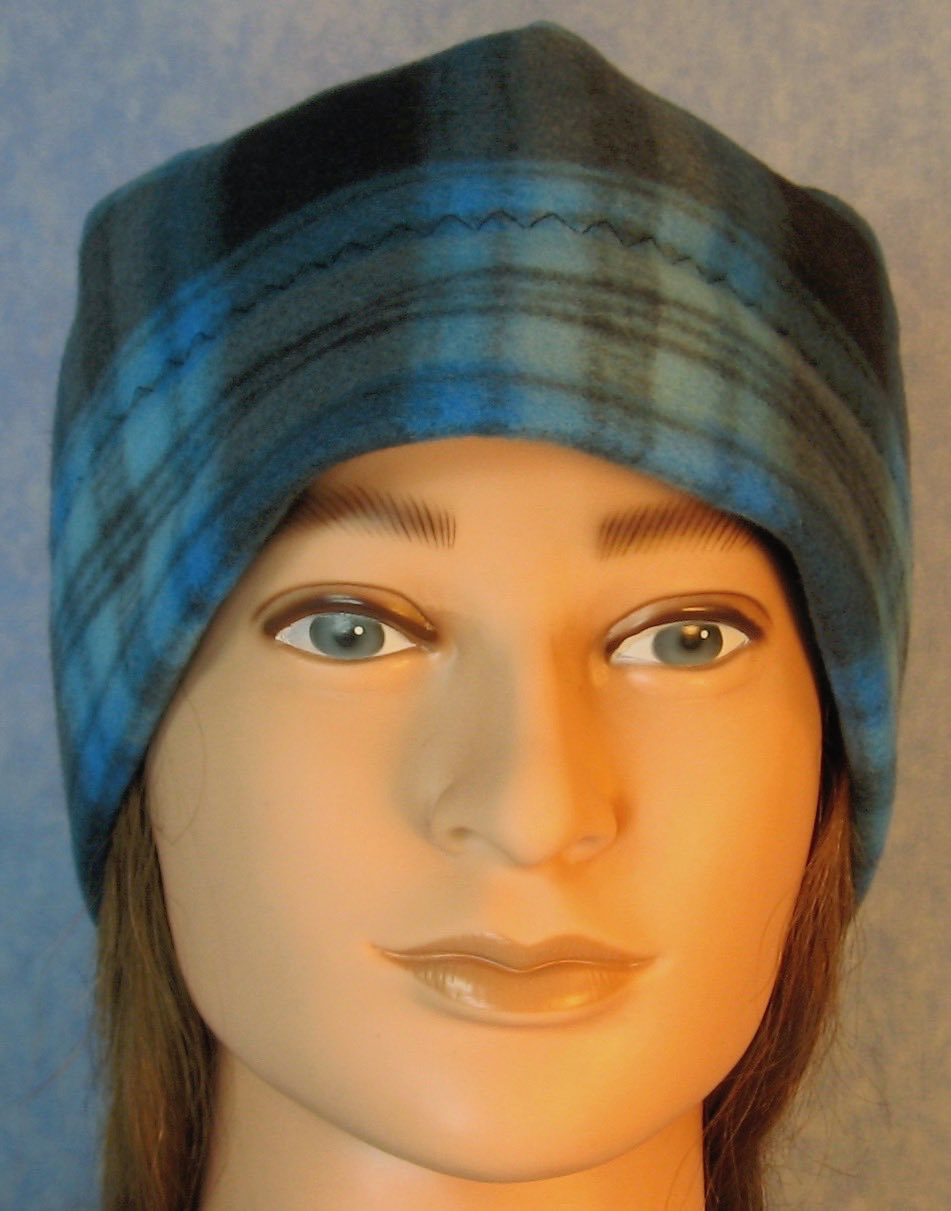 Beanie Band Cap in Blue Black Plaid-Adult S