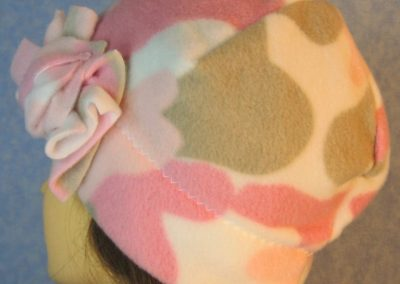 Beanie-Pink Camo with Flower-left back
