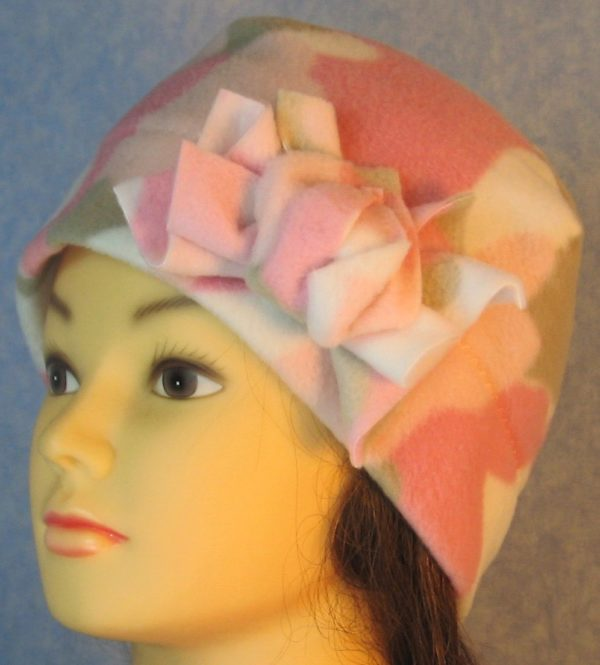 Beanie-Pink Camo with Flower-left front
