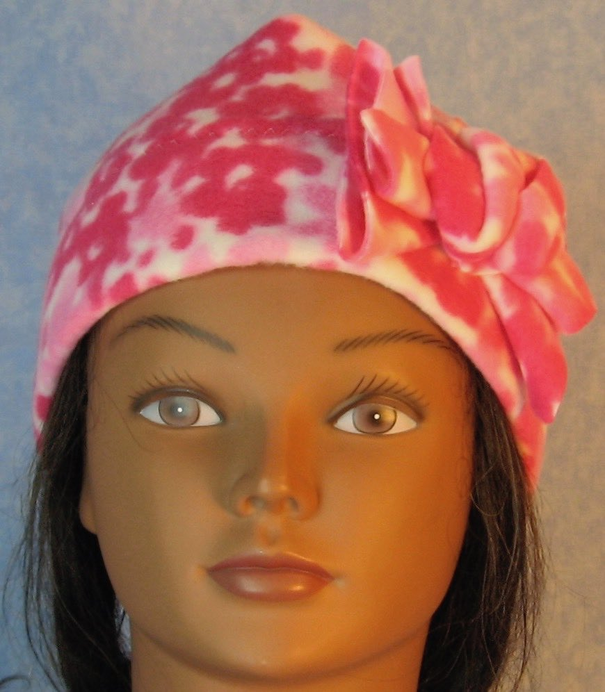 Beanie Band Flower Cap in Pink Flower-Baby 12 Month