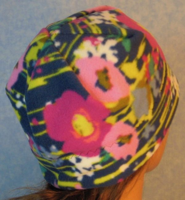 Beanie-Pink Flowers with Yellow Lines on Navy-back right