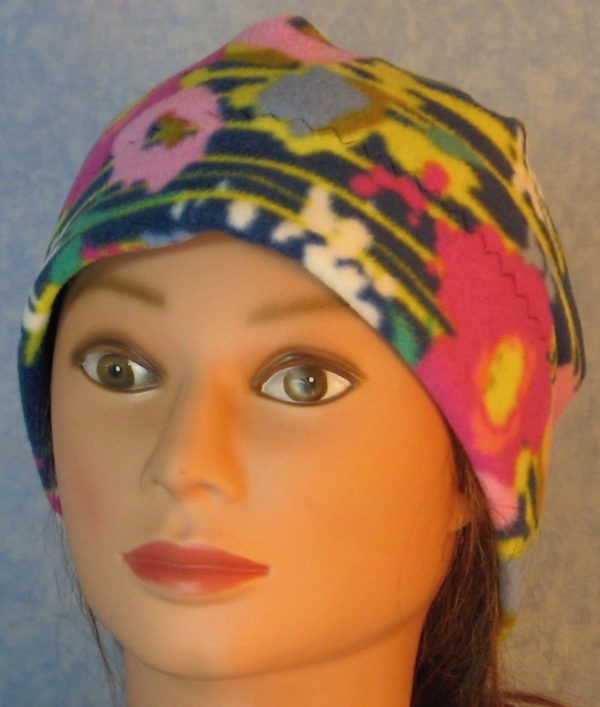 Beanie-Pink Flowers with Yellow Lines on Navy-front