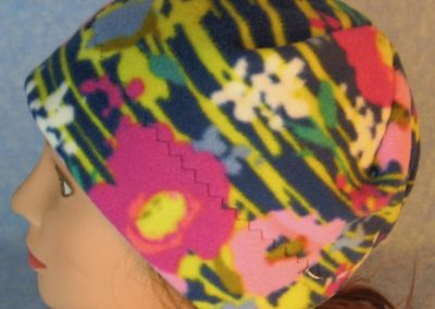 Beanie-Pink Flowers with Yellow Lines on Navy-top left