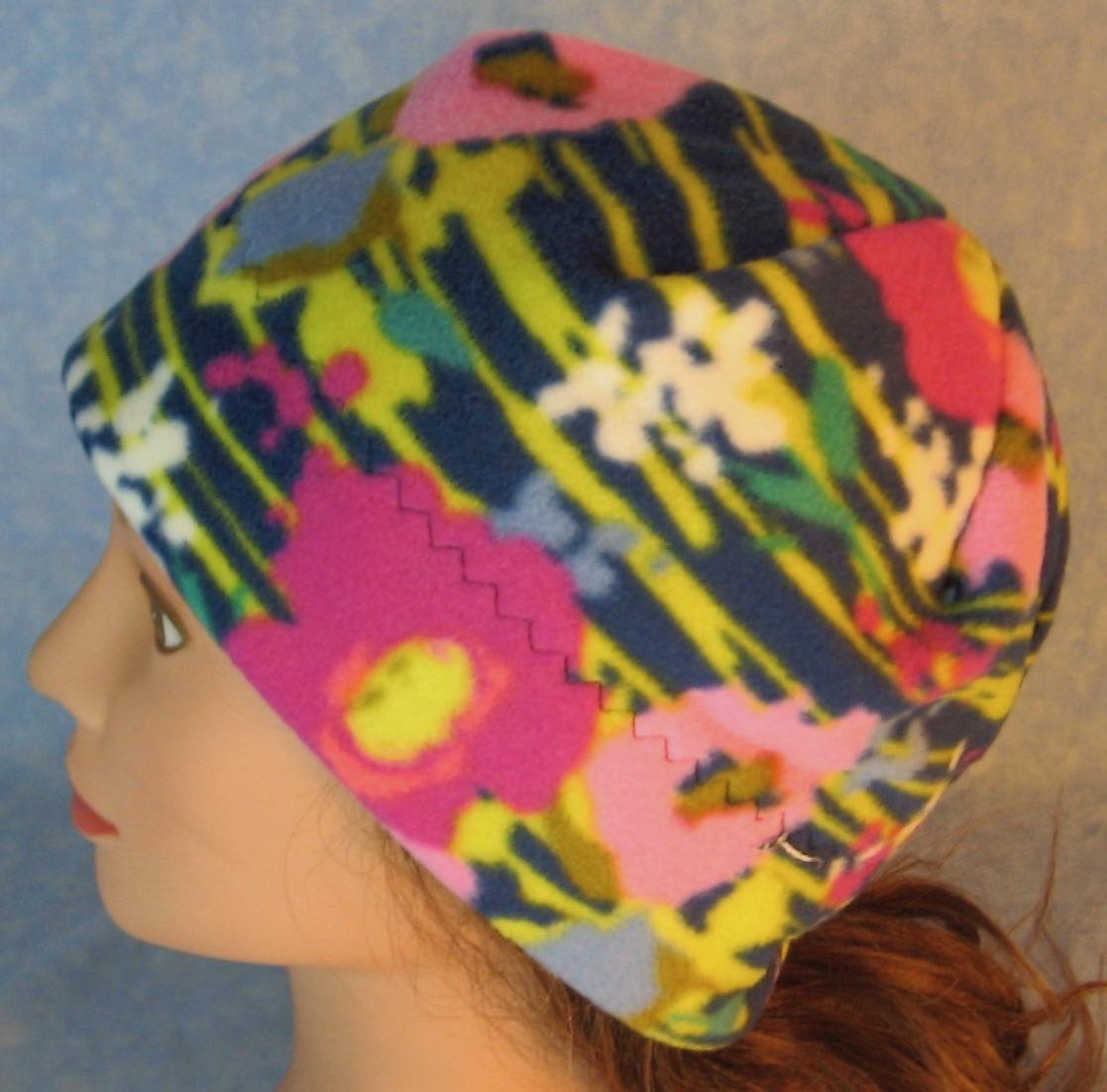 Beanie Band Cap in Pink Flowers with Yellow Lines on Navy-Adult S