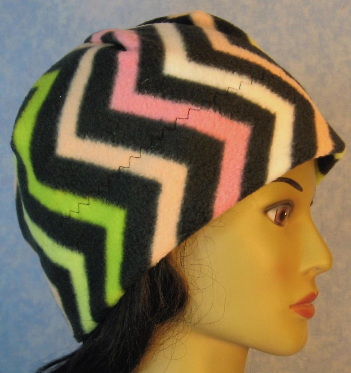 Beanie Band Cap in Pink Green White Black Chevron-Adult M