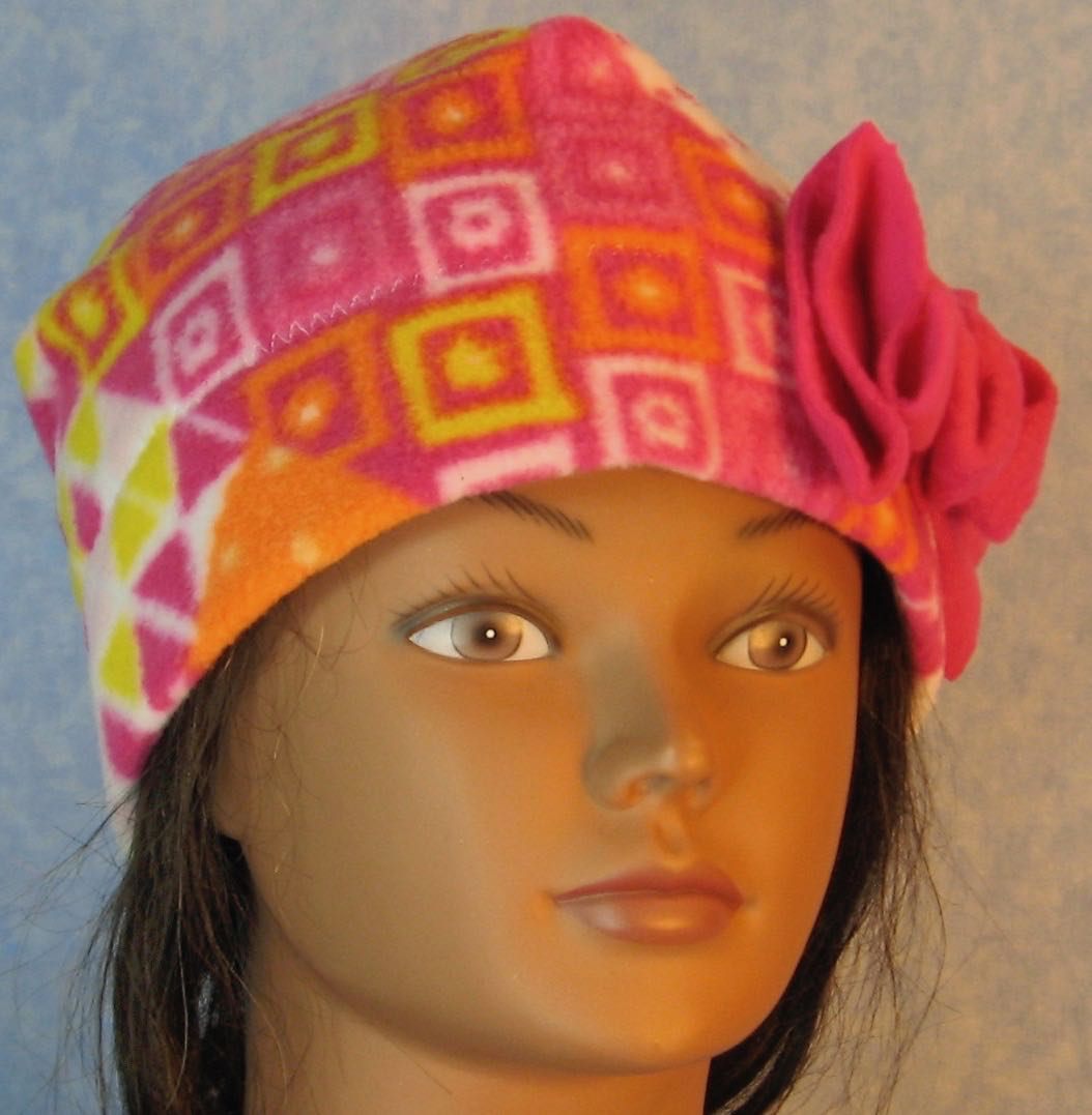 Beanie Band Flower Cap in Pink Orange Yellow Patchwork with Pink Flower-Adult S