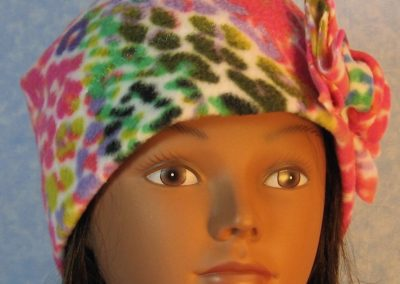 Beanie-Rainbow Bright Speckle with Flower-front