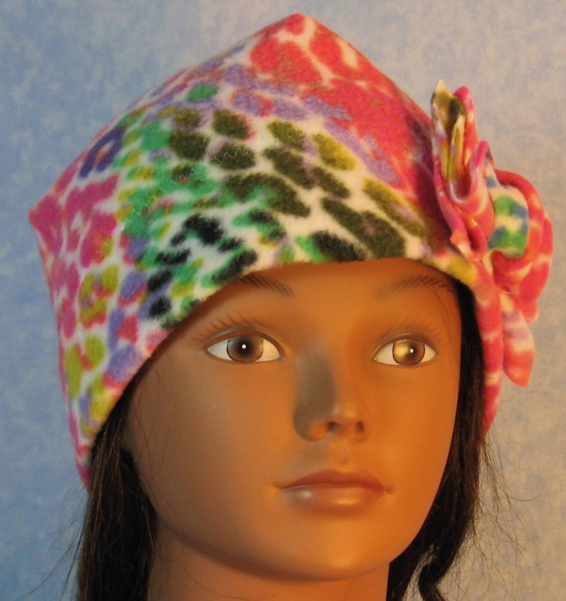 Beanie Band Flower Cap in Rainbow Bright Speckle-Adult S