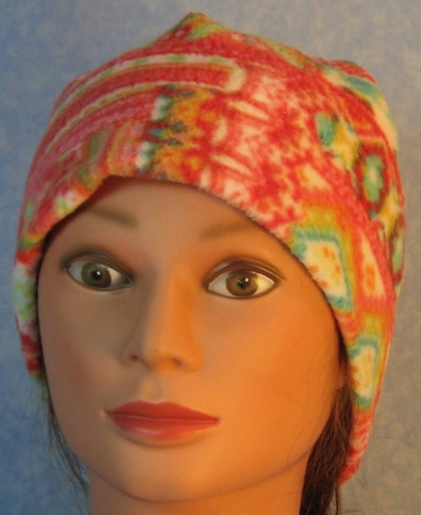 Beanie-Red Green Patchwork Lines on White-front