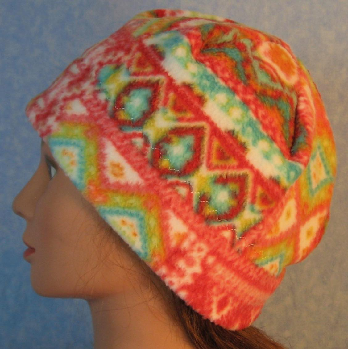 Beanie Band Cap in Red Green Patchwork Lines on White-Adult M