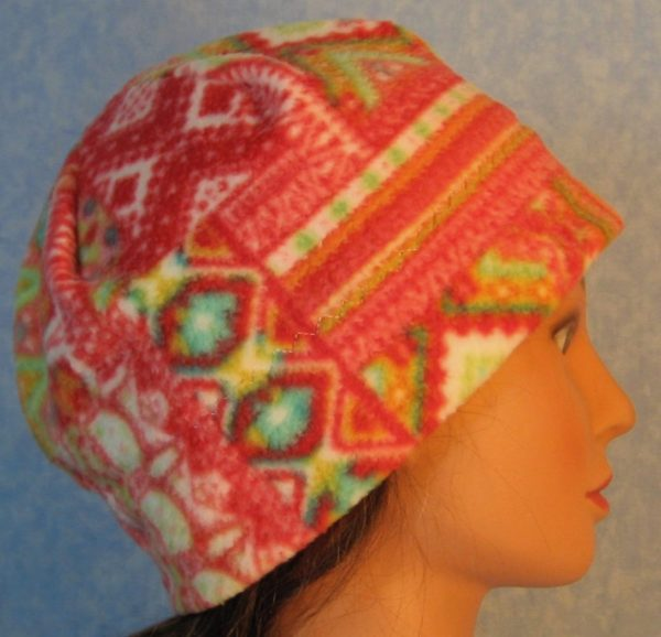 Beanie-Red Green Patchwork Lines on White-right