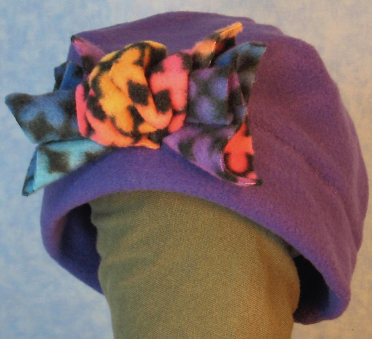 Beanie Band Flower Cap in Royal Purple with Crosses Flower-Baby 12 Month