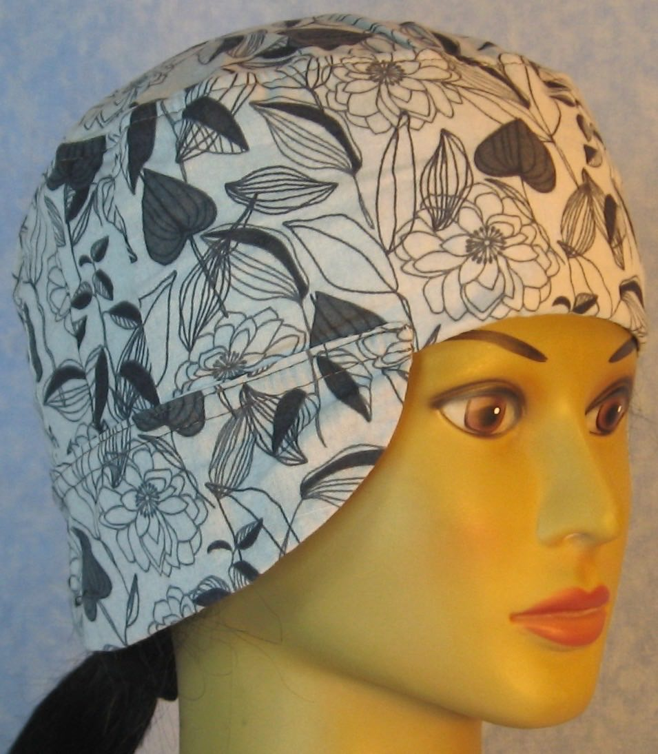Welding Cap-Gray Leaves Flower Lines on Gray-Adult L