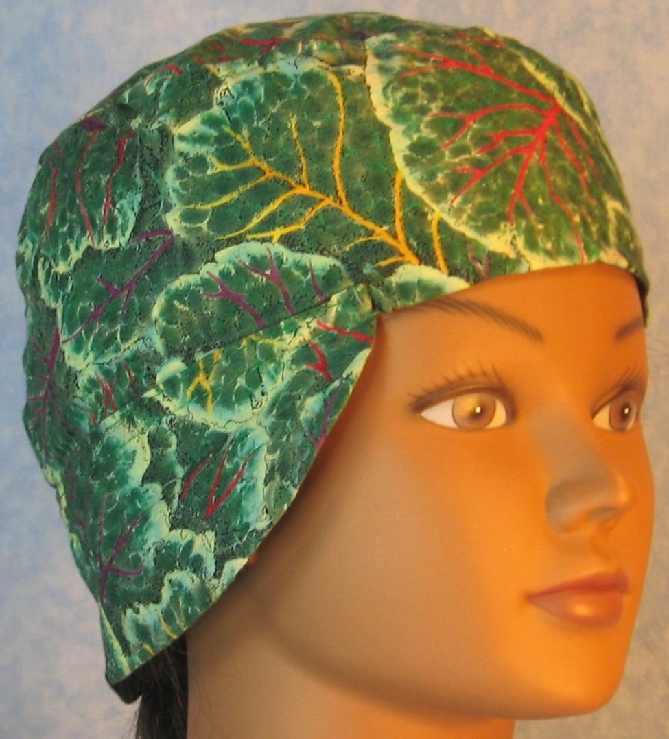 Welding Cap-Green Leaves with Red Yellow Purple Veins-Adult L