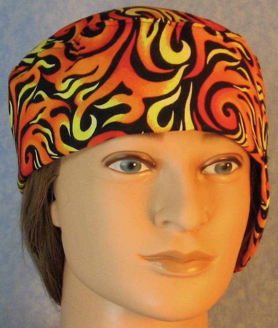 Welding Cap-Orange Yellow Flames on Black-Adult L
