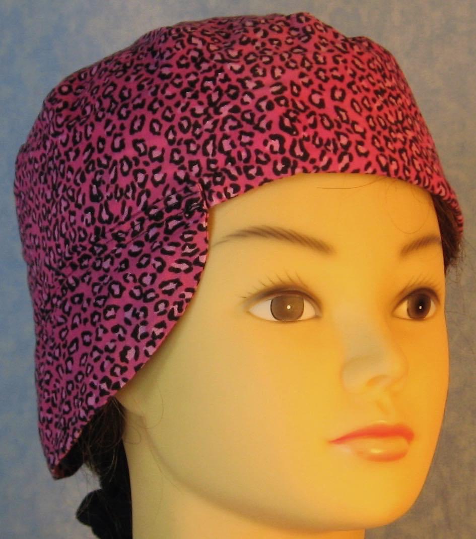 Welding Cap-Pink Cheetah-Adult M