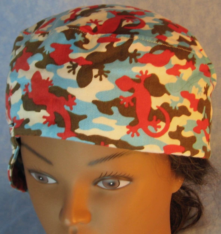 Welding Cap-Red Blue Brown Lizards-Adult L