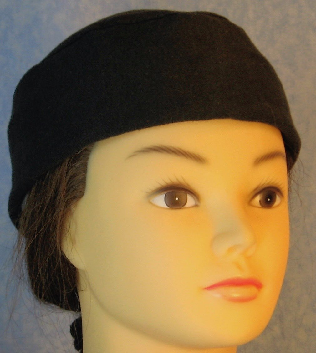 Skull Cap-Black Cotton Knit-Adult M