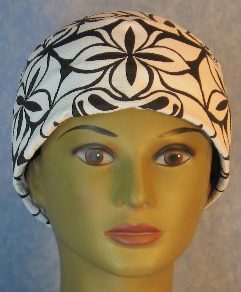 Skull Cap-Black Stylized Line Flowers on White Tricot Knit-Adult L