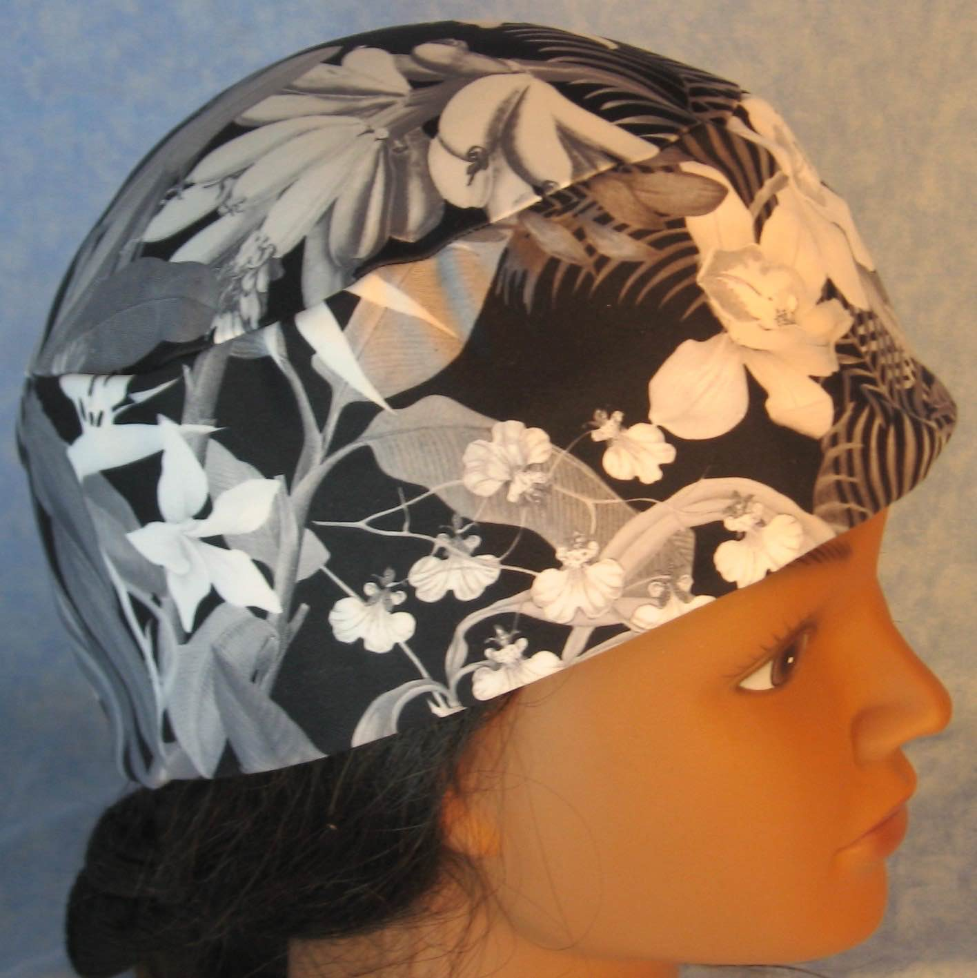 Skull Cap-Black White Gray Orchid Flowers Performance Knit-Adult M