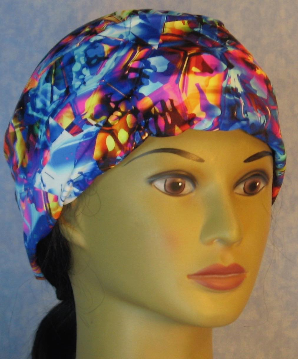 Skull Cap-Blue Pink Yellow Shattered Glass Performance Knit-Adult L