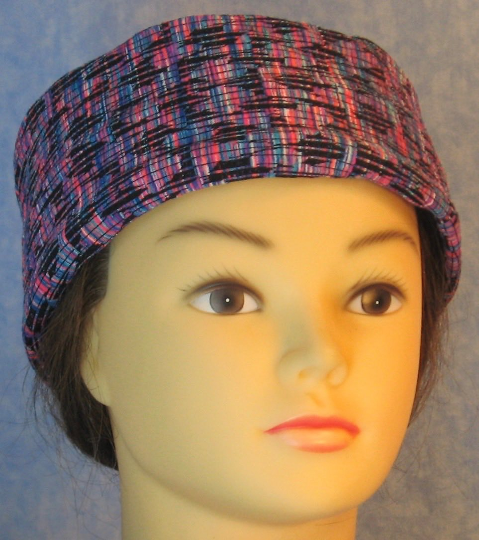 Skull Cap-Bright Multi-colored Brush Strokes with Varied Black Lines Ribbed Knit-Adult L
