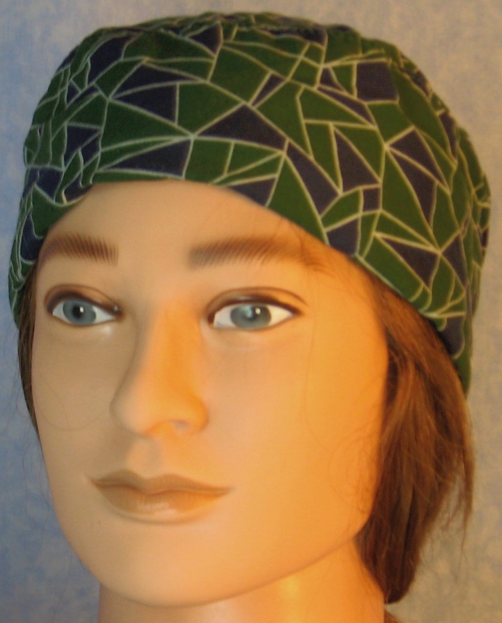 Skull Cap-Green Navy Geometric Triangles with White Outline-Adult L