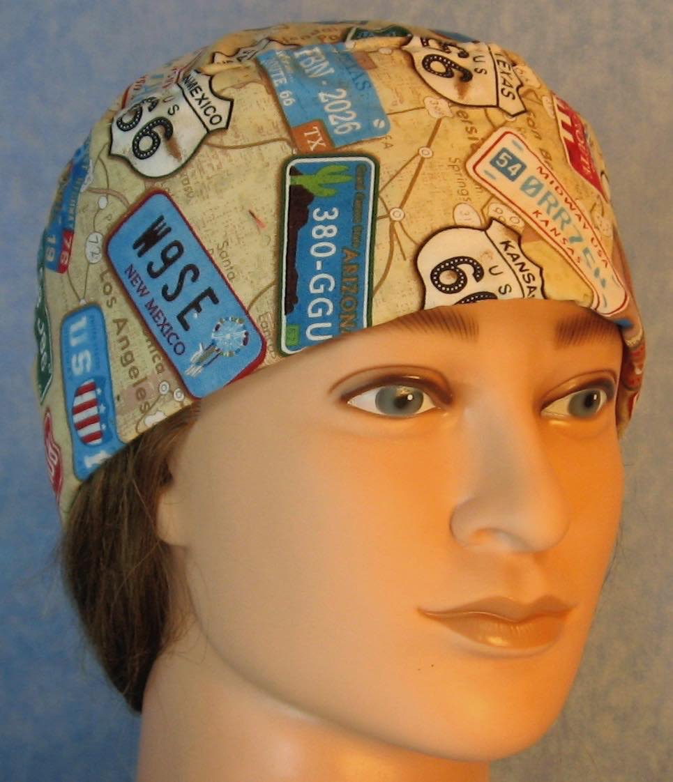 Skull Cap-License Plates on Tan Map-Adult L