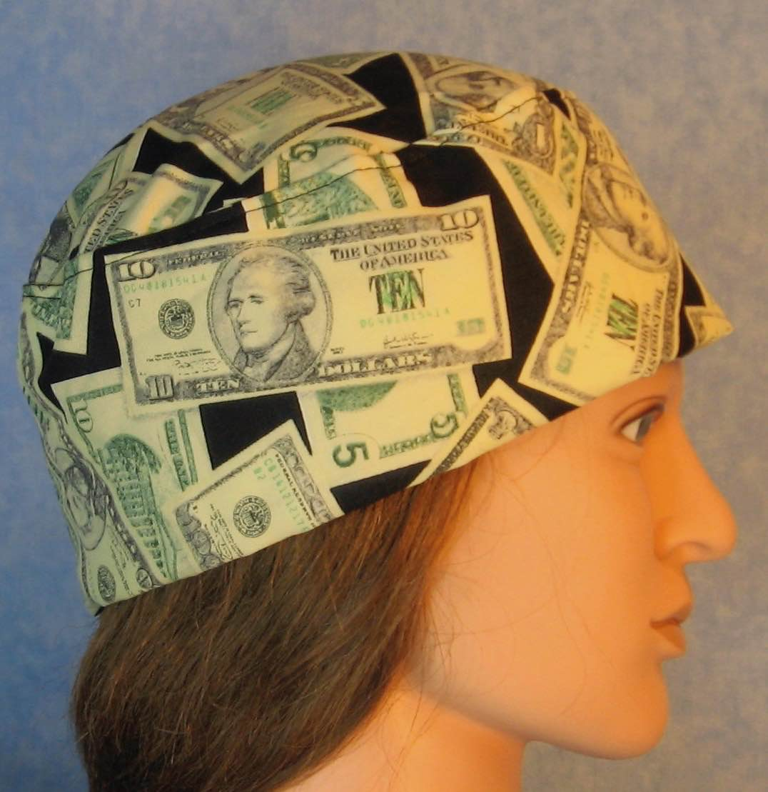 Skull Cap-Money on Black-Adult L