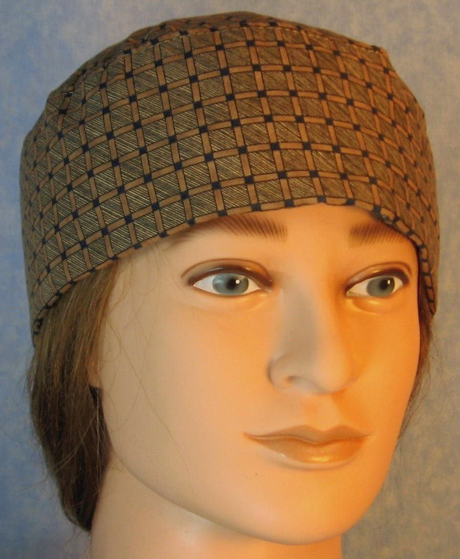 Skull Cap-Navy Brown Check Grid with Crosshatch-Adult L